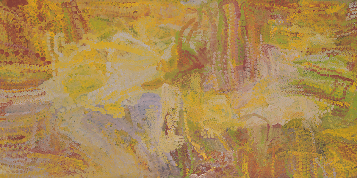 EMILY KAME KNGWARREYE, Merne Akngerre, 1992. Synthetic polymer paint on linen, 119 1/2 x 53 3/4 x 1 inches. © Emily Kame Kngwarreye / Copyright Agency. Licensed by Artists Rights Society (ARS), New York, 2019. Photo: Rob McKeever. Courtesy Gagosian